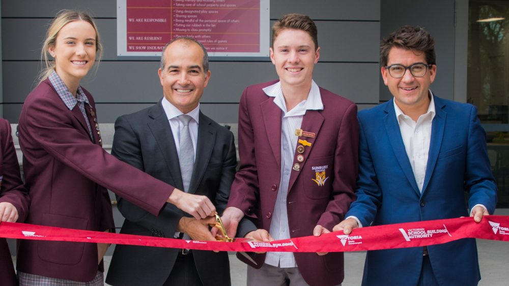 Students cut the ribbon with The Honourable James Merlino Minister for Education (Deputy Premier) & Mr Josh Bull Member for Sunbury